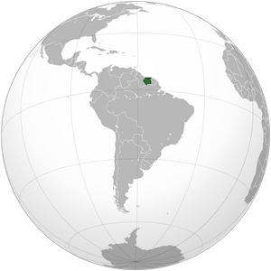 Globe with country of Suriname in green (north coast of South America)