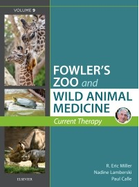 Picture of the cover of fowler's zoo and wild animal medicine. Title listed in white on a blue background.